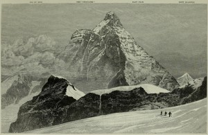 Matterhorn over man. Scale means everything in this Whymper sketch.