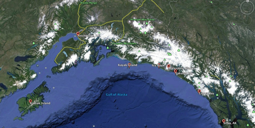 Eagan paddled solo from Sitka to Kodiak Island, a distance of over 1,000 miles. The excerpt takes place between Icy Bay and Kayak Island.
